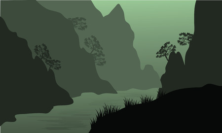 cliffs: Silhouette of river between the cliffs at night Illustration