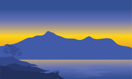 Illustration of mountain silhouette at the morning