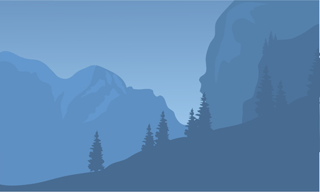 over the hill: Silhouette of cliff and forest at the night Illustration
