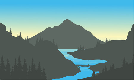 River in the mountain of silhouette at the afternoon