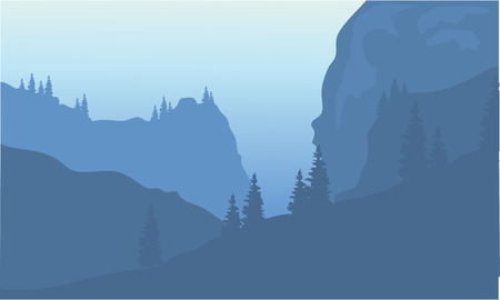 Silhouette of cliff and forest at morning Stock Illustratie