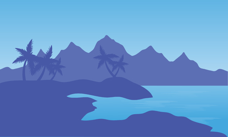 Illustration of beach and mountain with blue background