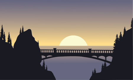 tranquil scene on urban scene: Silhouette of bridge and moon at the night