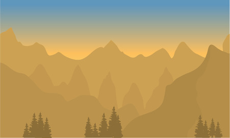 over the hill: Silhouette of highlands with brown background at sunset Illustration
