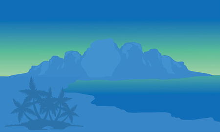 View beach and highlands with blue background of silhouette