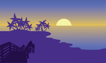 Silhouette of beach with moon with purple background
