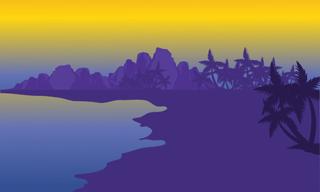 Silhouette of beach with purple backgrounds at the morning