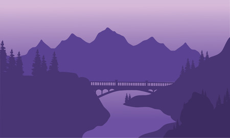 View bridge and mountain silhouette with purple backgronds