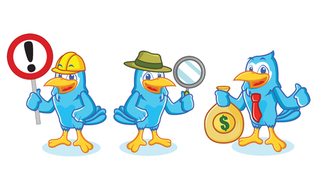 jay: Blue Jay Mascot with sign detective and business Illustration