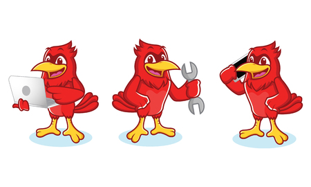 Cardinal Mascot vector with phone and laptop