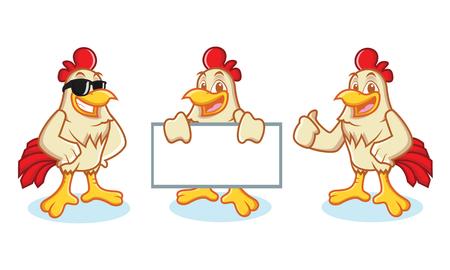 cockrel: Chicken Mascot Vector happy and bring board Illustration