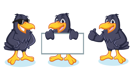 Crow Mascot vector happy, pose and bring board Illustration