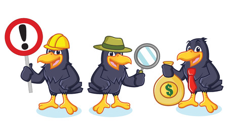 Crow Mascot Vector with sign, detective and business Illustration