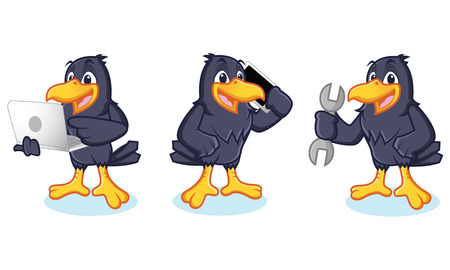laptop mascot: Crow Mascot vector with phone and laptop Illustration