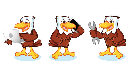 Eagle Mascot Vector with phone, laptop, and mechanics 일러스트