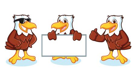Eagle Mascot Vector happy pose and bring board