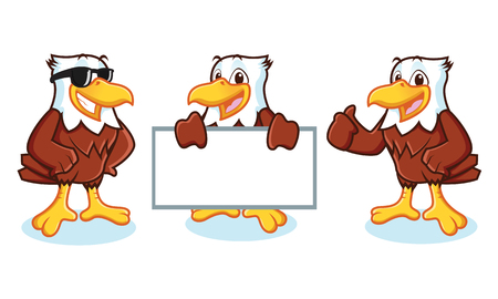 cartoon eagle: Eagle Mascot Vector happy pose and bring board