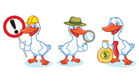 Goose Mascot Vector with sign, detective, and business