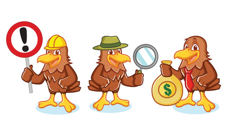 dashing: Hawk Mascot Vector with sign, detective and businessman
