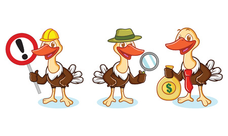 Ostrich Mascot Vector with sign, magnifying glass, and money