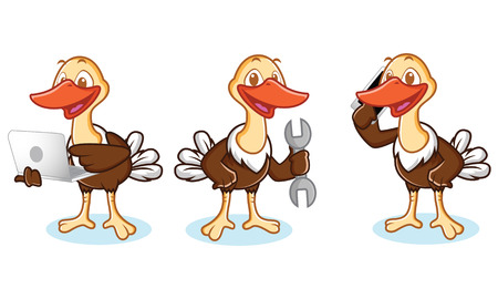 laptop mascot: Ostrich Mascot Vector with phone, laptop, and tools