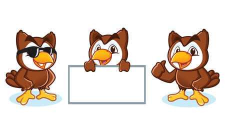 Owl Mascot Vector happy, pose and bring board