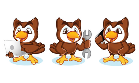 laptop mascot: Owl Mascot Vector with phone, laptop, tools