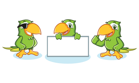 Parrot Mascot Vector happy, pose, and bring board