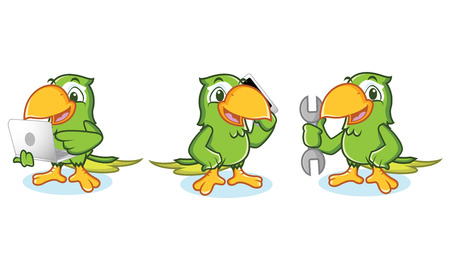 Parrot mascot Vector with laptop, phone and tools