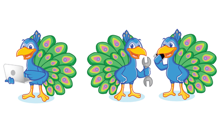 laptop mascot: Peacock Mascot Vector with laptop, phone and tools