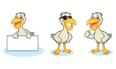 wharf: Pelican Mascot Vector happy, pose and bring board Illustration
