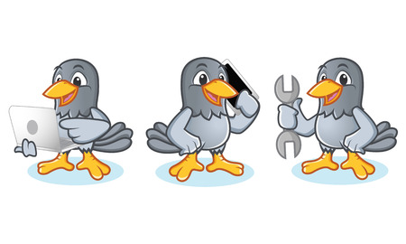 Pigeon Mascot Vector with laptop, phone and tools