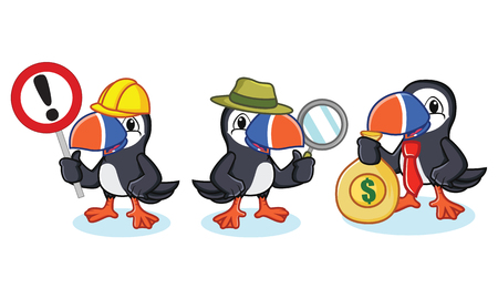 seabird: Puffin Mascot Vector with money, magnifying and sign