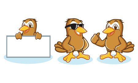 Sparrow Mascot Vector happy, pose and bring board