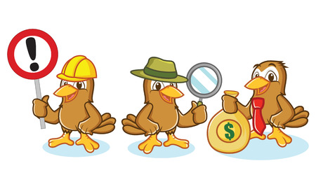 chirp: Sparrow Mascot Vector with money, sign and magnifying glass