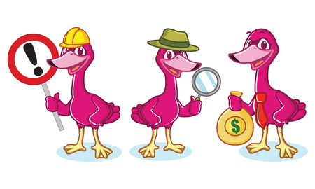 cygnus: Swan Mascot Vector with money, sign and magnifying glass