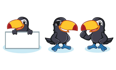Toucan Mascot happy, pose and bring board