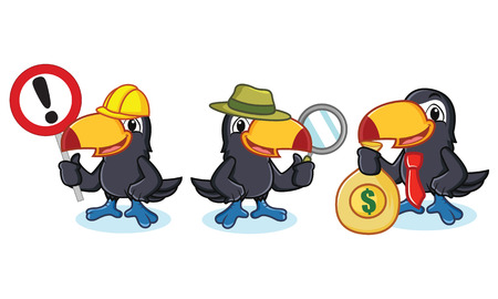 Toucan Mascot vector with money, sign and magnfying glass