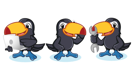 laptop mascot: Toucan Mascot with laptop, phone and tool Illustration