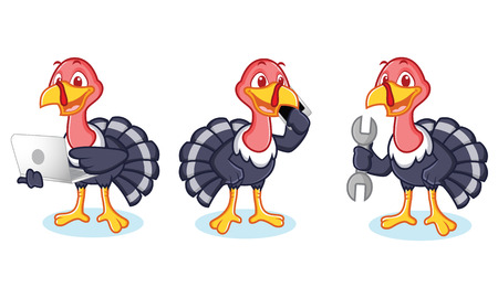 laptop mascot: Turkey Mascot with phone, laptop and tools Illustration