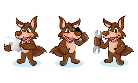 coyote: Coyote Mascot Vector with phone, laptop and tools