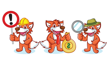 Fox Mascot Vector with money, sign and magnifying Stock Illustratie