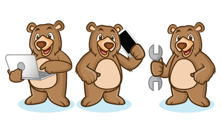 laptop mascot: Grizzly Bear Mascot with laptop, phone and toools