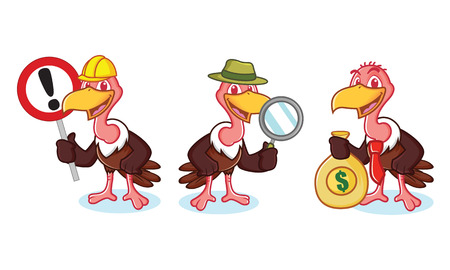 vulture: Vulture Mascot Vector with money, sign and magnifying glass