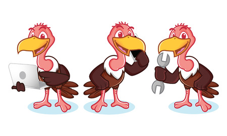laptop mascot: Vulture Mascot Vector with phone, tools and laptop