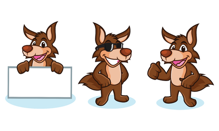 Coyote Mascotte gelukkig, pose en breng board