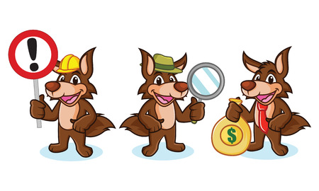 paw smart: Coyote Mascot Vector with money, sign and magnifying Illustration