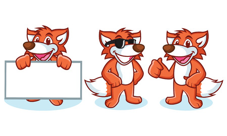 Fox Mascot Vector happy, pose and bring board