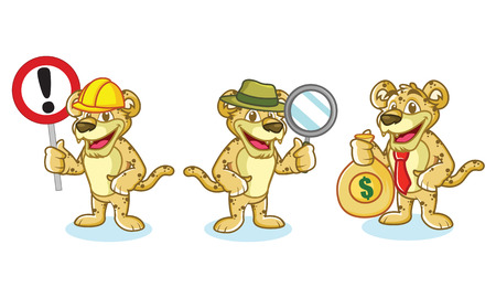 cheetah cub: Jaguar Mascot Vector with money, sign and magnifying Illustration