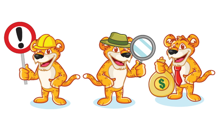 money cat: Leopard Mascot Vector with sign, money and magnifying